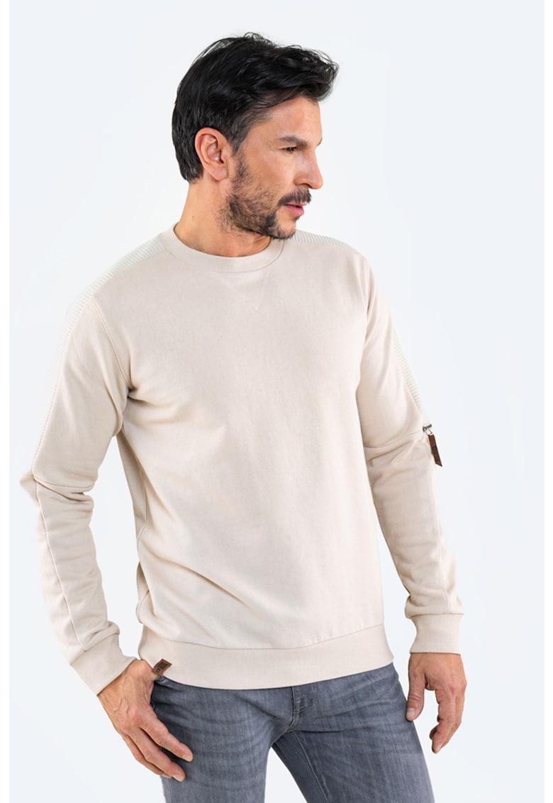 Bluza sport cu decolteu la baza gatului si detaliu cu fermoar