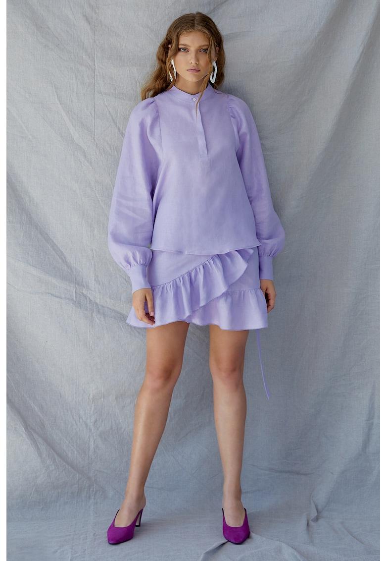 Bluza de in cu maneci bufante Lavender imagine