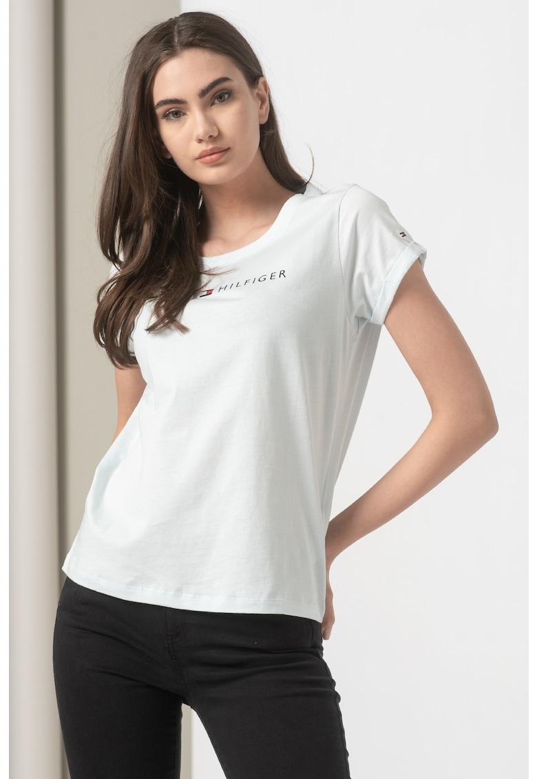 Tricou slim fit cu imprimeu logo imagine fashiondays.ro Tommy Hilfiger