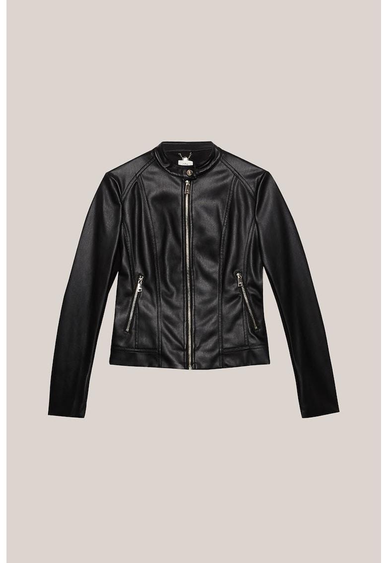 Jacheta de piele ecologica cu buzunare oblice de la Oltre