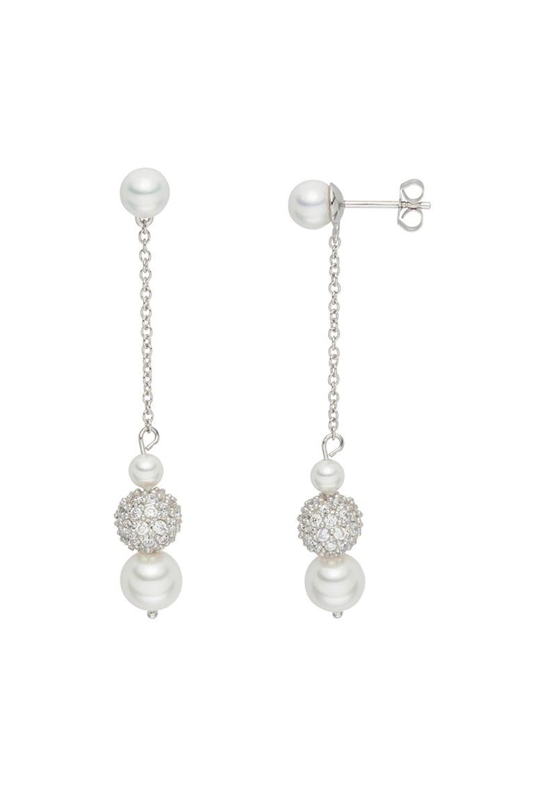 Cercei drop cu zirconia si perle organice de la Clara Copenhagen