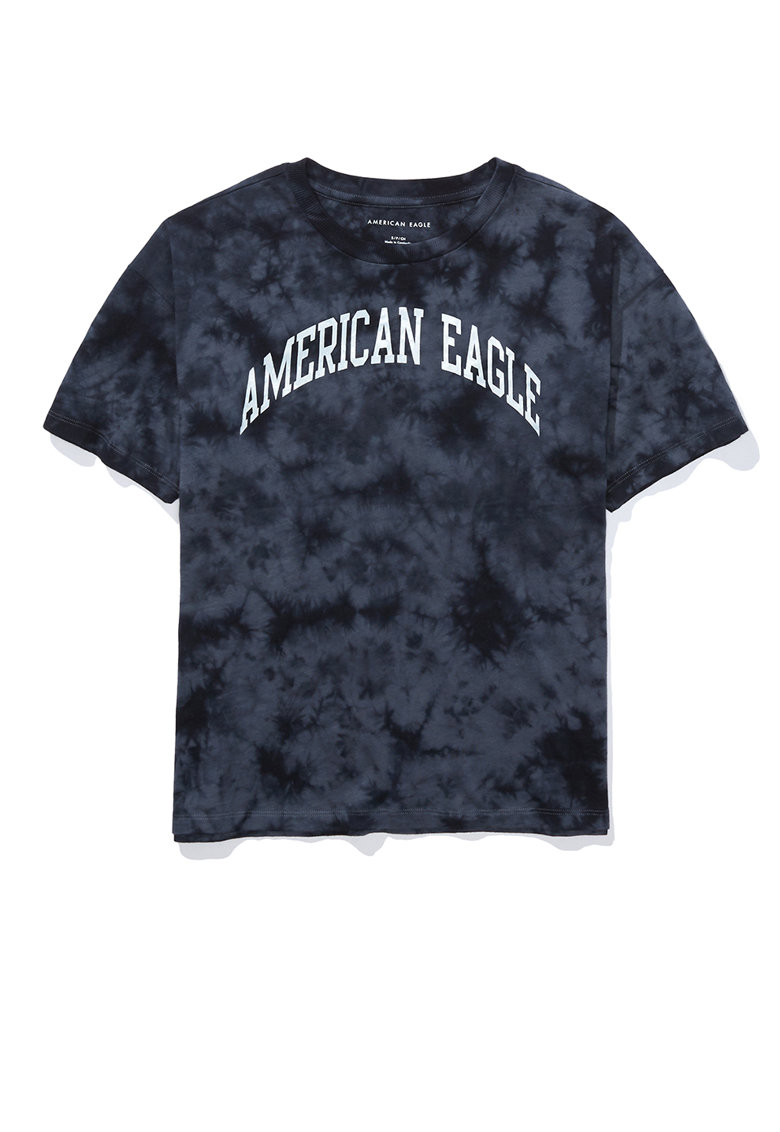 Tricou cu imprimeu logo si model tie-dye American Eagle fashiondays.ro