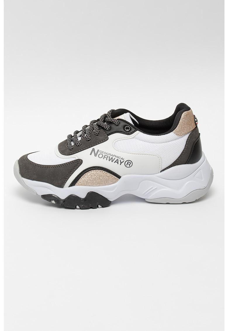 Pantofi sport wedge cu insertii de plasa