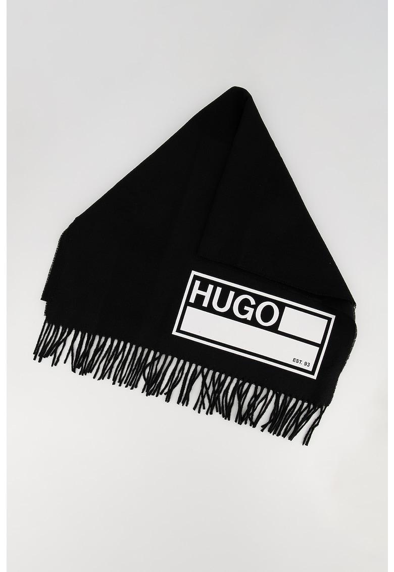 Fular din amestec de lana cu imprimeu logo