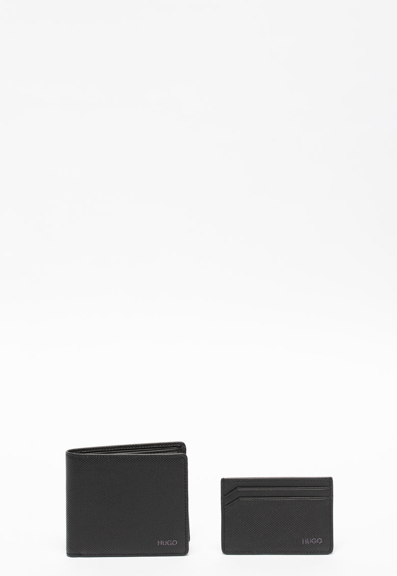 Set de portofel pliabil de piele si portcart - 2 piese