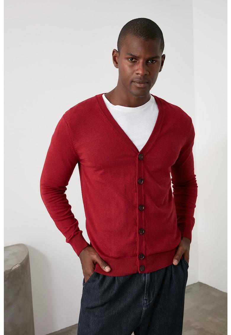 Cardigan cu decolteu in V si aspect tricotat fin