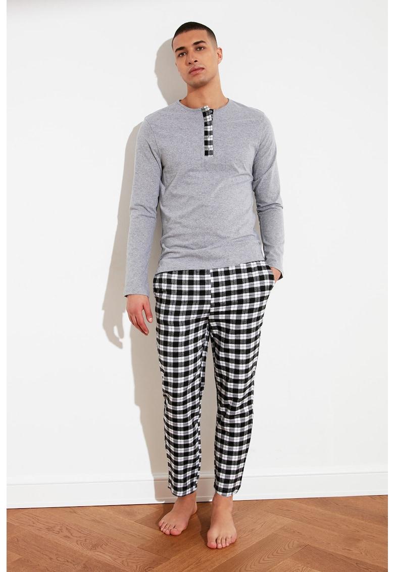 Pijama lunga din amestec de bumbac