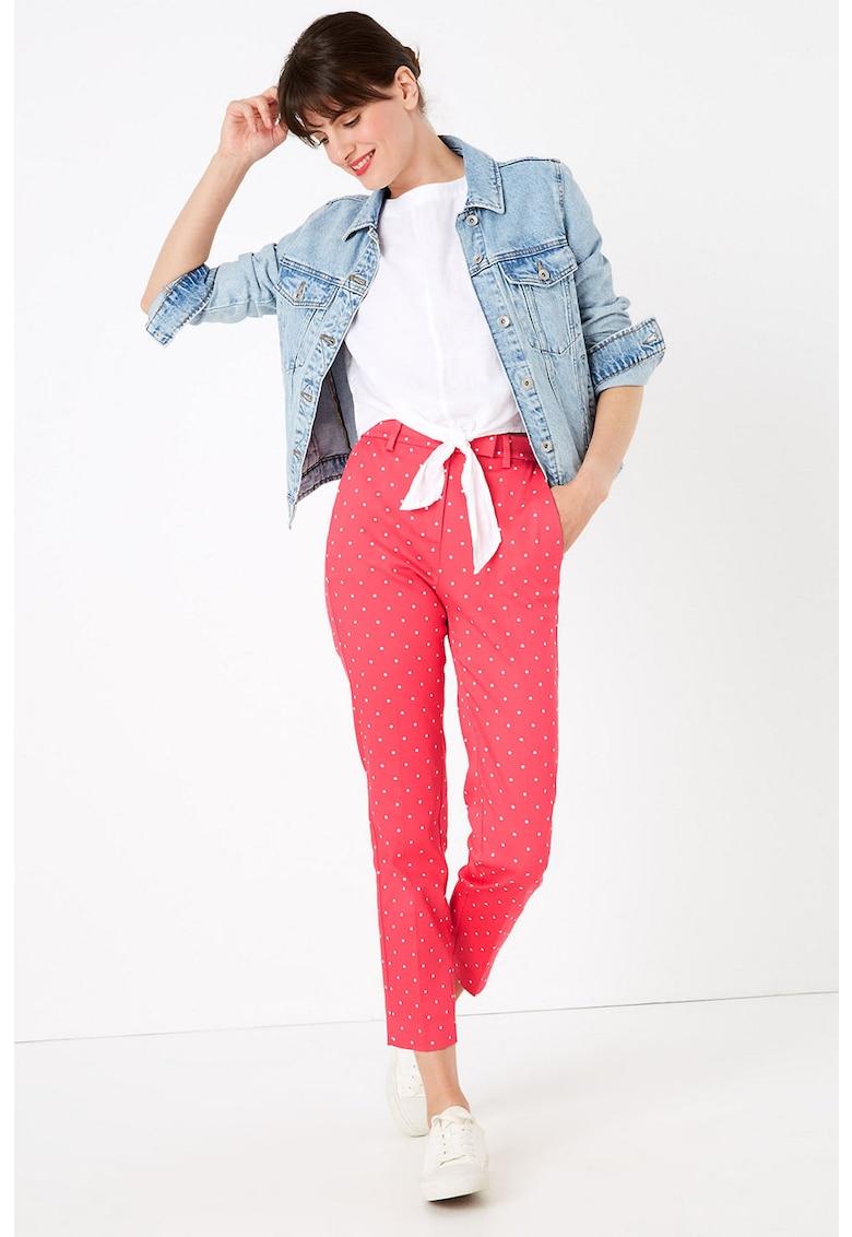 Pantaloni cu talie inalta si model cu buline imagine