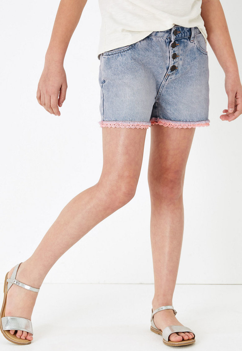 Pantaloni scurti de denim cu terminatie de dantela crosetata imagine