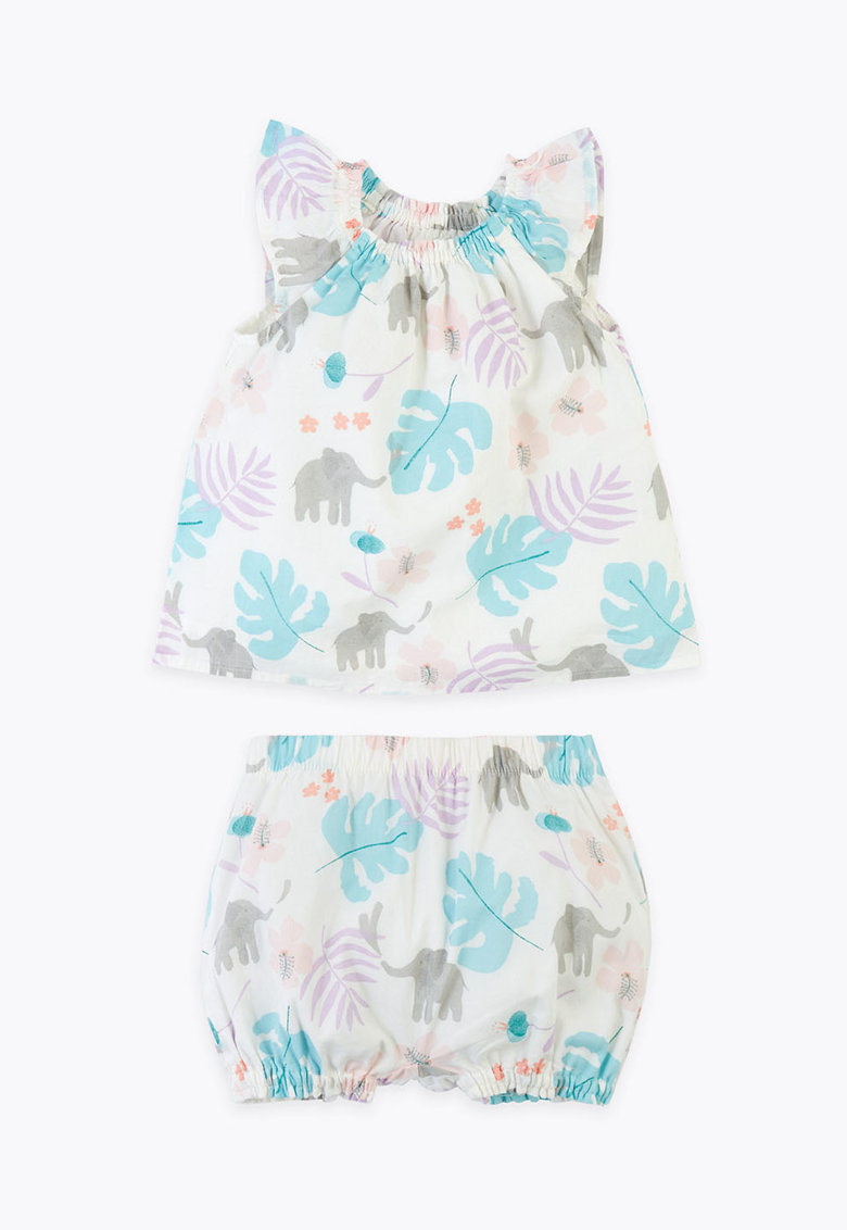 Set de bluza cu imprimeu si pantaloni scurti imagine fashiondays.ro 2021