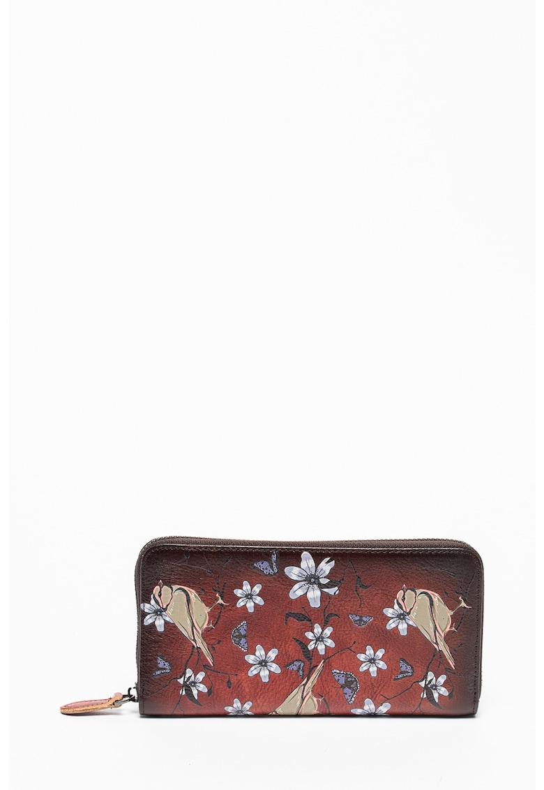 Portofel de piele cu model cu flori si pasari fashiondays.ro