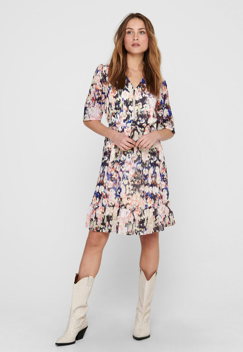 Rochie mini cu model floral si talie ajustabila