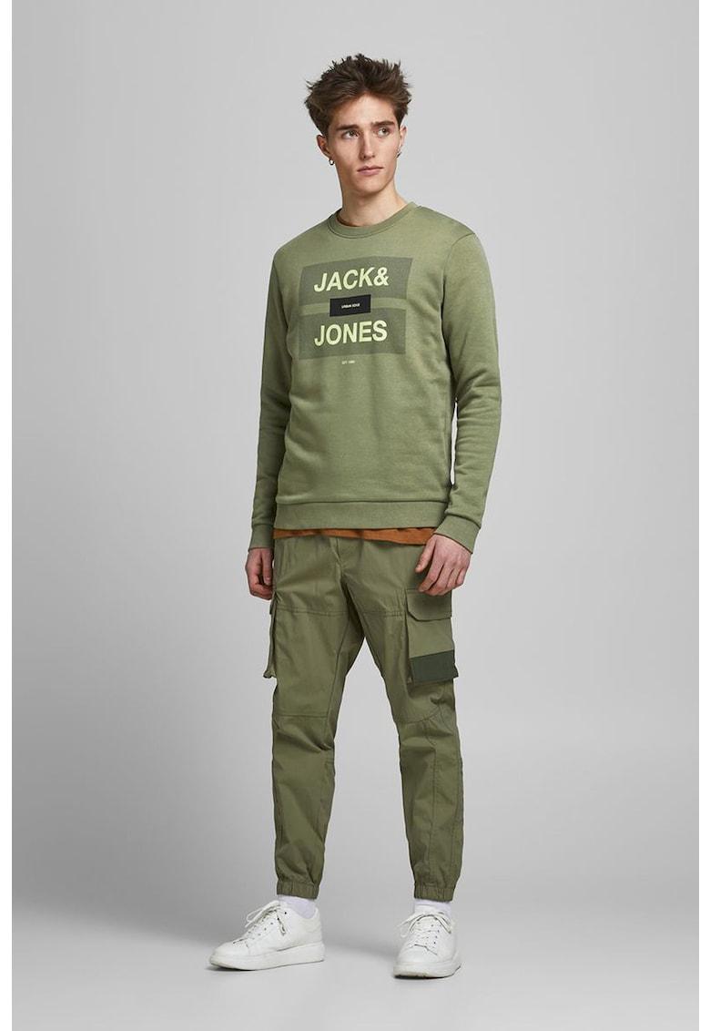 Bluza sport cu decolteu la baza gatului si imprimeu logo imagine fashiondays.ro 2021