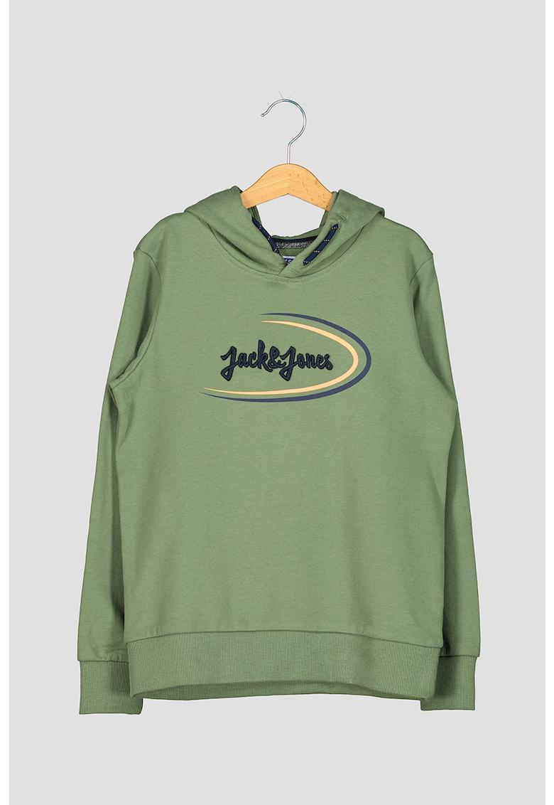 Hanorac de bumbac organic cu imprimeu logo imagine fashiondays.ro Jack&Jones