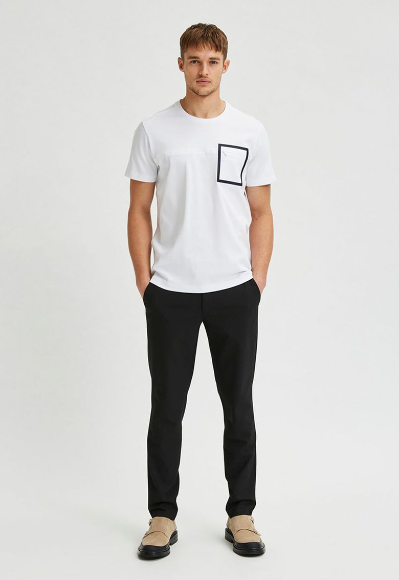 Tricou de bumbac organic cu buzunar cu fermoar Selected Homme fashiondays.ro