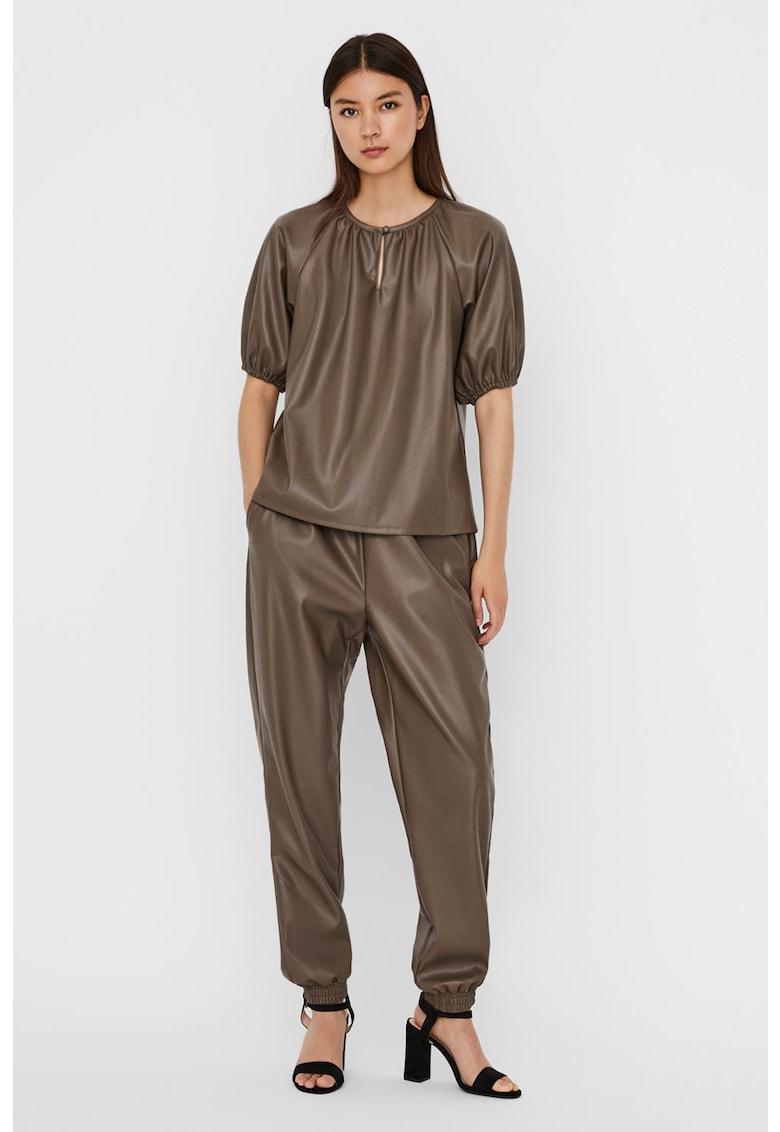 Bluza de piele ecologica cu maneci bufante Sola GLoria imagine fashiondays.ro