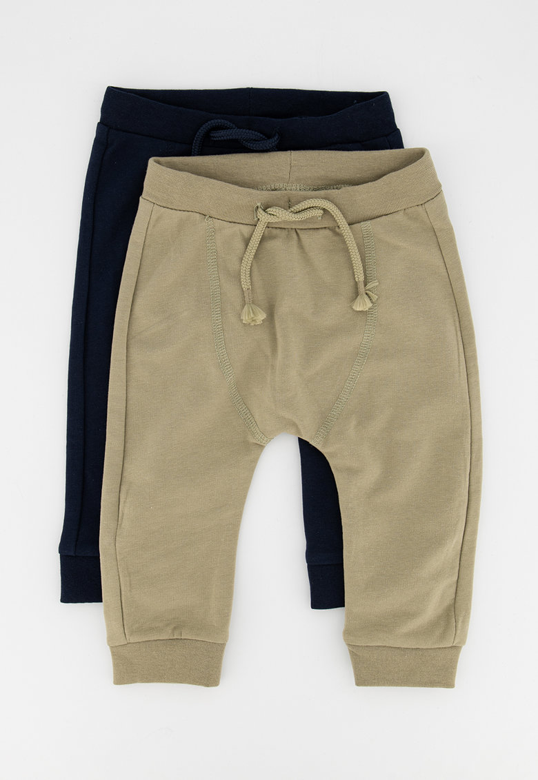Set de pantaloni sport din amestec de bumbac organic cu snur -2 perechi NAME IT fashiondays.ro