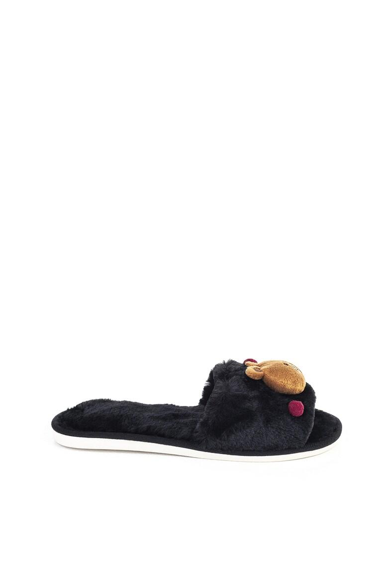 Papuci cu aplicatii cu urs imagine fashiondays.ro Funky Steps