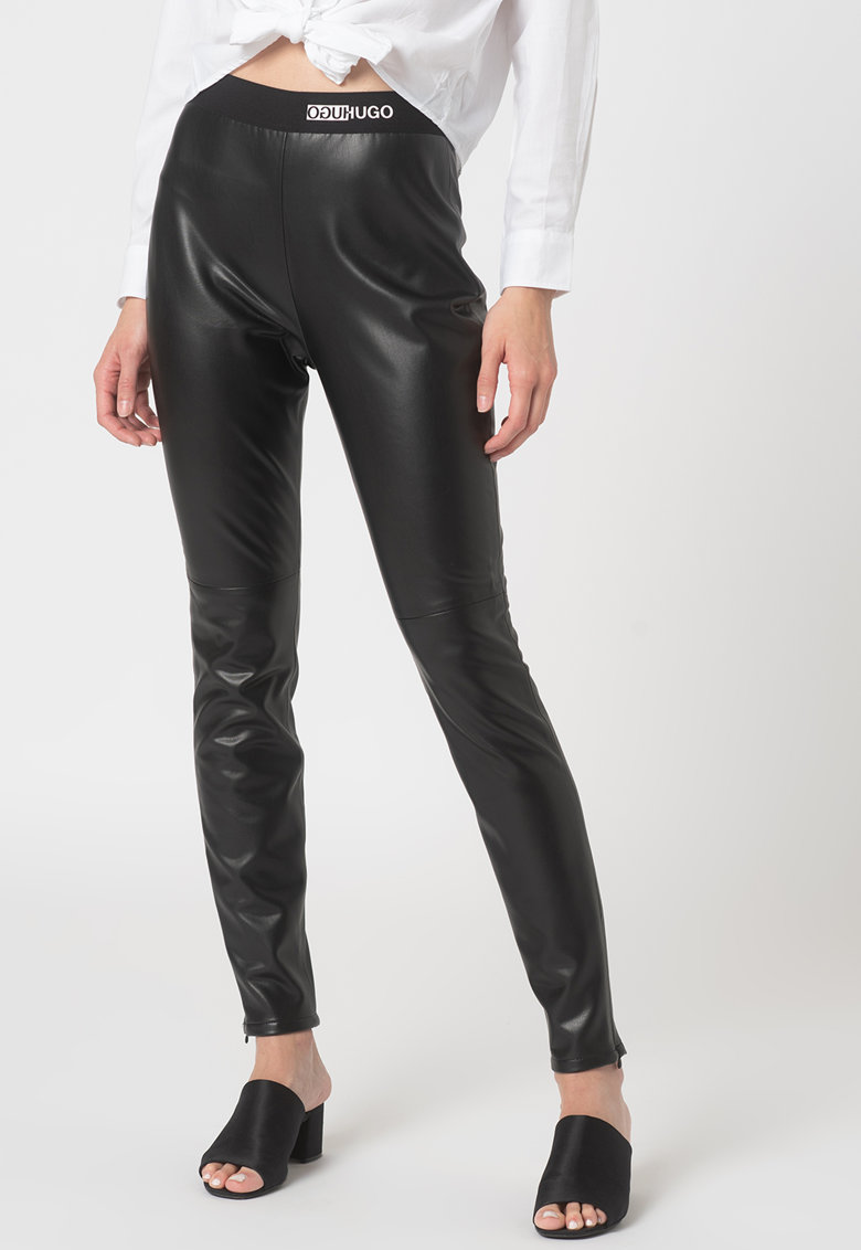 Pantaloni de piele ecologica cu banda logi in talie