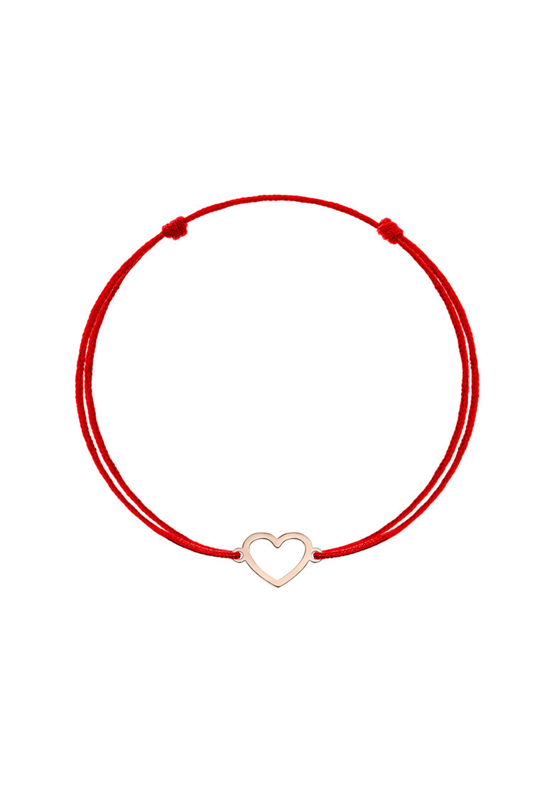 Bratara tip snur cu talisman in forma de inima din aur rose de 14K imagine fashiondays.ro Zea et Sia