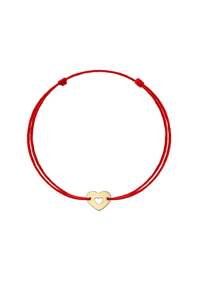 Bratara tip snur cu talisman in forma de inima din aur galben de 14K imagine fashiondays.ro Zea et Sia