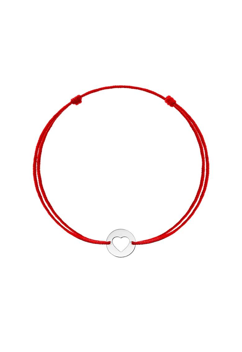 Bratara tip snur cu talisman in forma de inima de aur alb de 14K imagine fashiondays.ro Zea et Sia