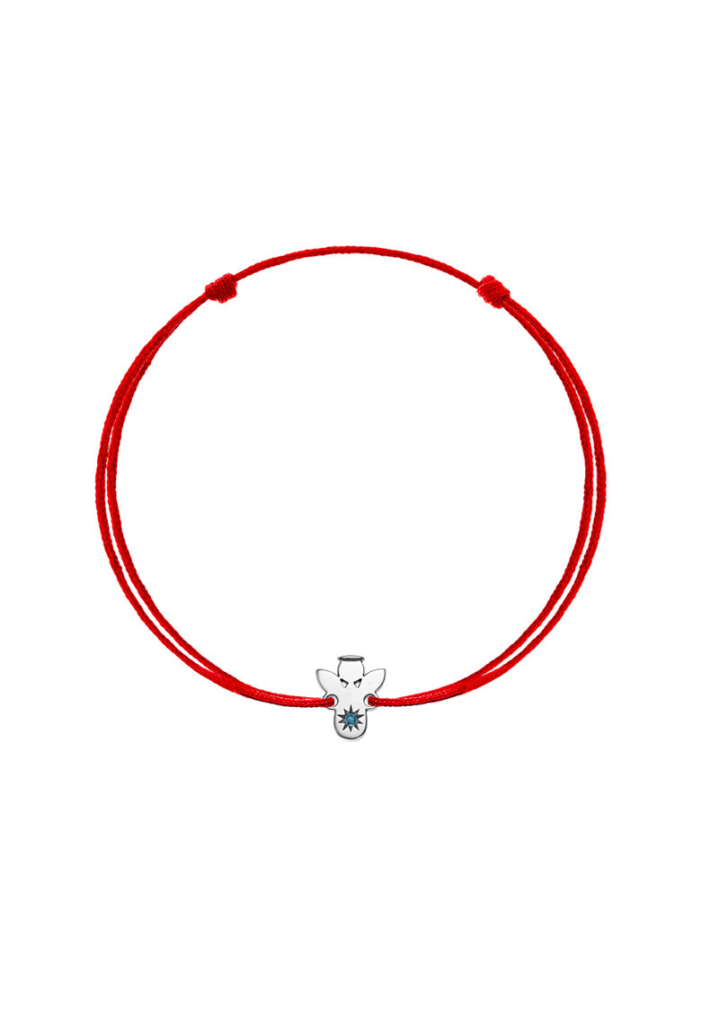 Bratara din aur de 14K cu snur de ajustare si pandantiv decorat cu 1 diamant imagine fashiondays.ro Zea et Sia