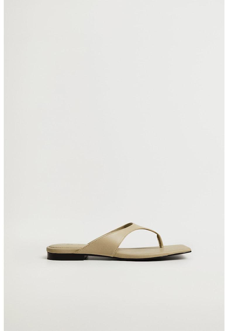 Papuci flip-flop de piele Gaga de la Mango