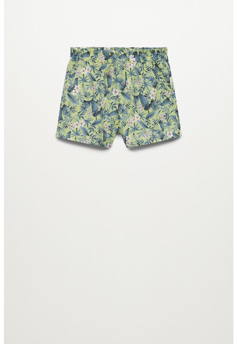 Pantaloni scurti din amestec de in cu imprimeu tropical Kimi imagine fashiondays.ro 2021
