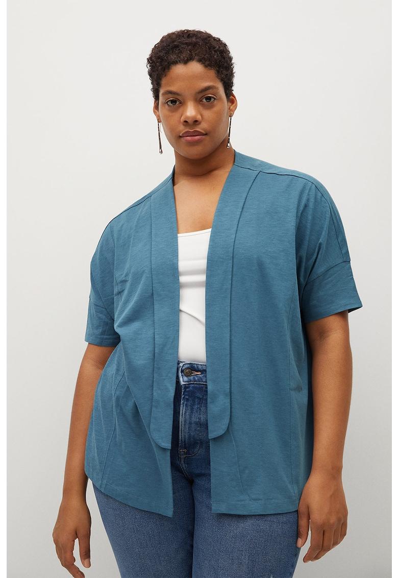 Cardigan de bumbac organic cu maneci cazute Yuzu imagine fashiondays.ro VIOLETA BY MANGO
