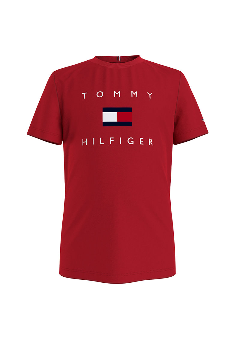 Tricou din bumbac organic cu imprimeu logo imagine fashiondays.ro Tommy Hilfiger