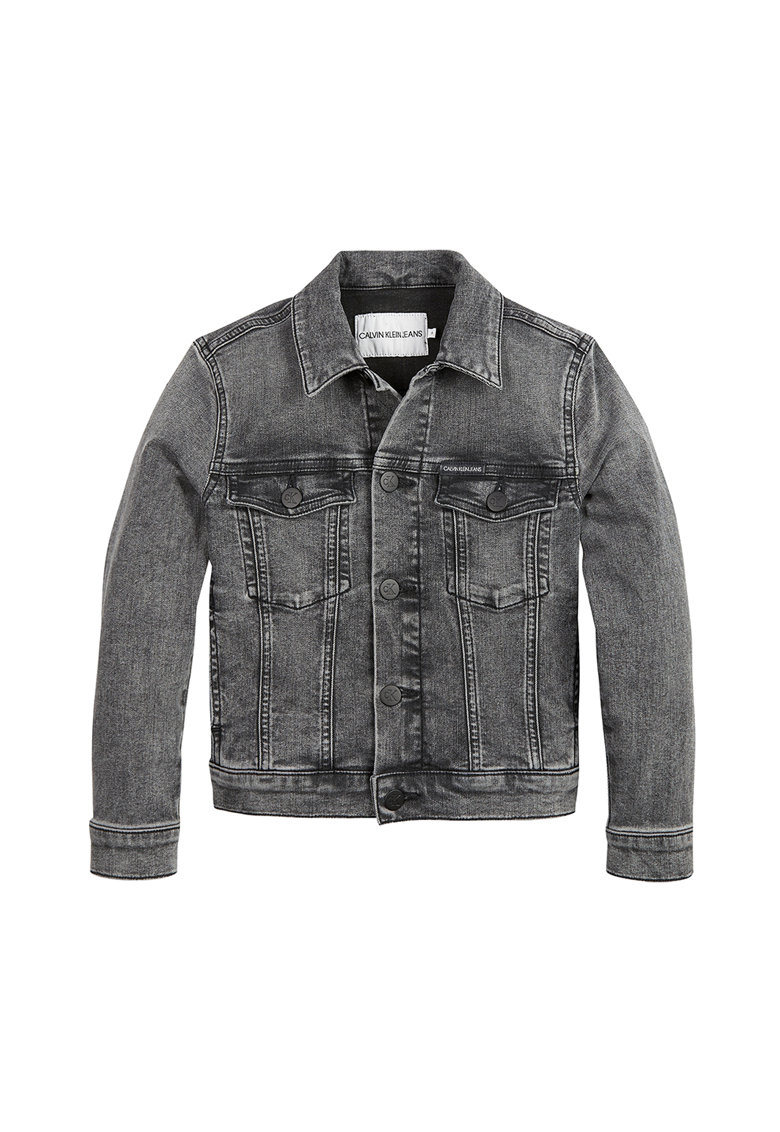 Jacheta din denim cu logo brodat pe partea din spate