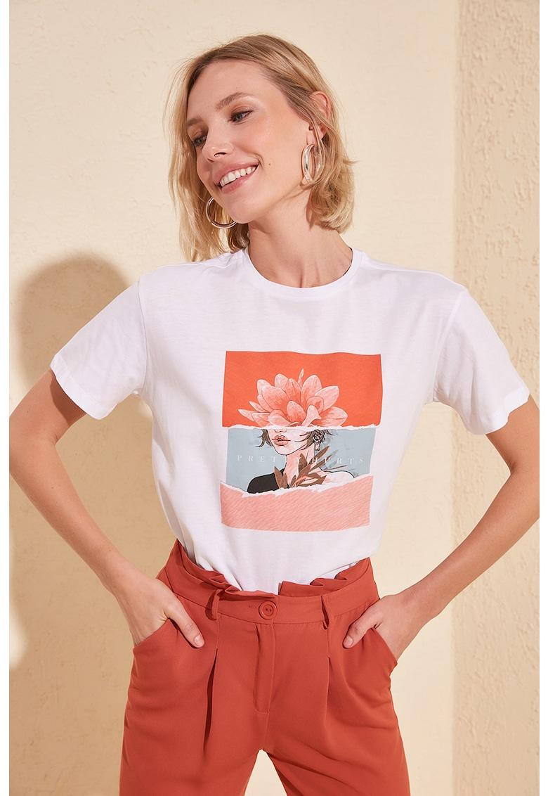 Tricou cu imprimeu grafic poza fashiondays