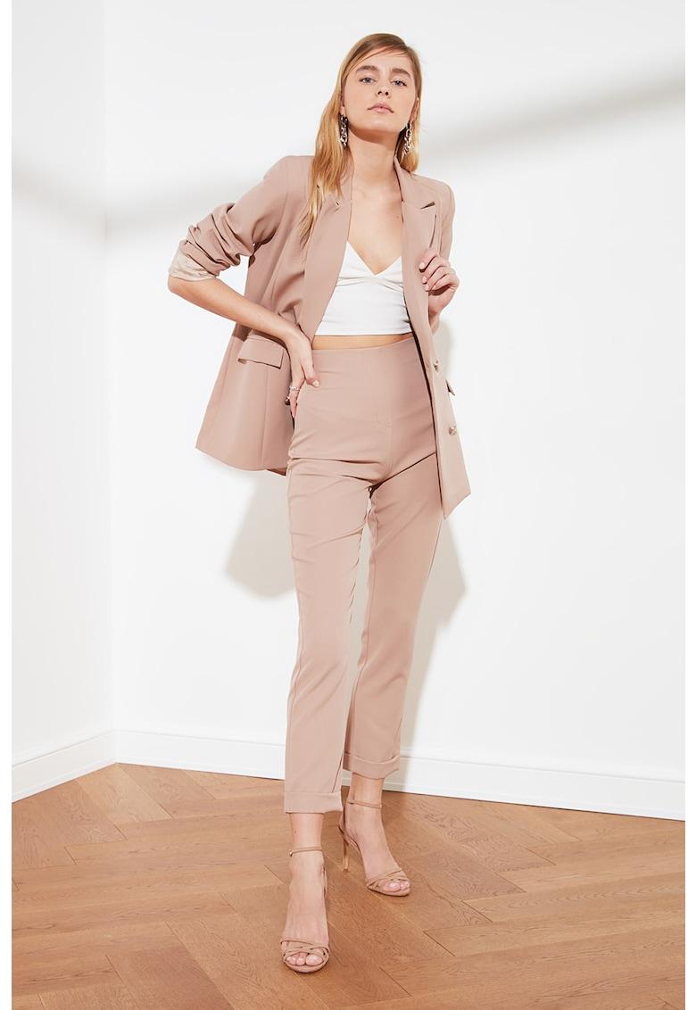 Pantaloni crop cu talie inalta poza fashiondays