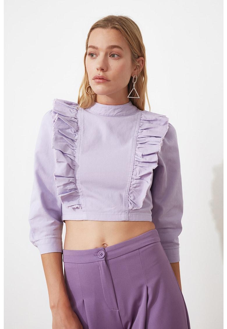 Bluza crop de denim cu volane