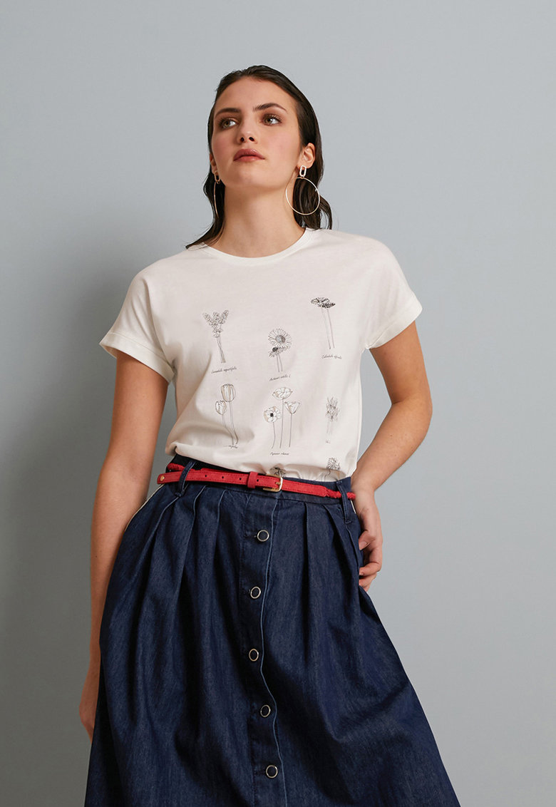 Tricou din amestec de lyocell cu imprimeu floral de la Oltre