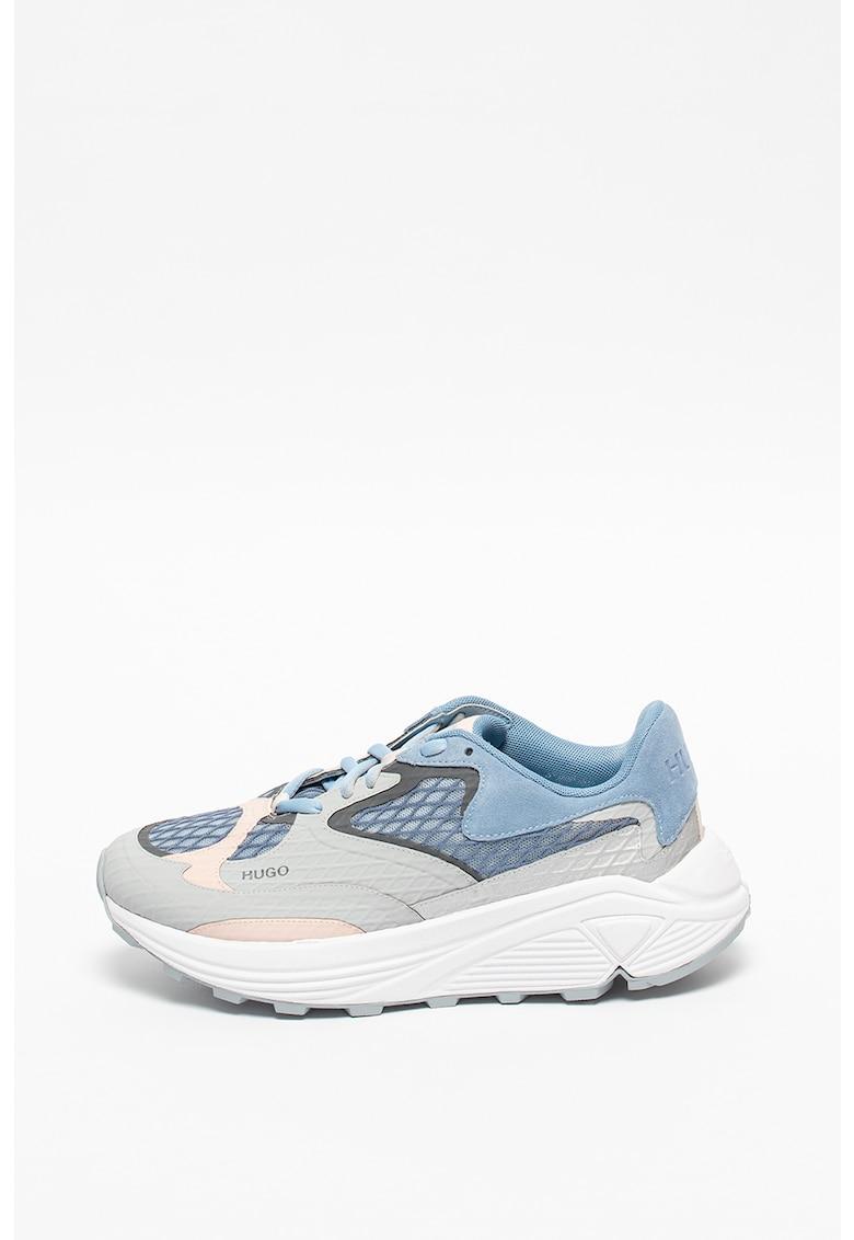 Pantofi sport cu aspect masiv si insertii de plasa si piele intoarsa Horizon Runn
