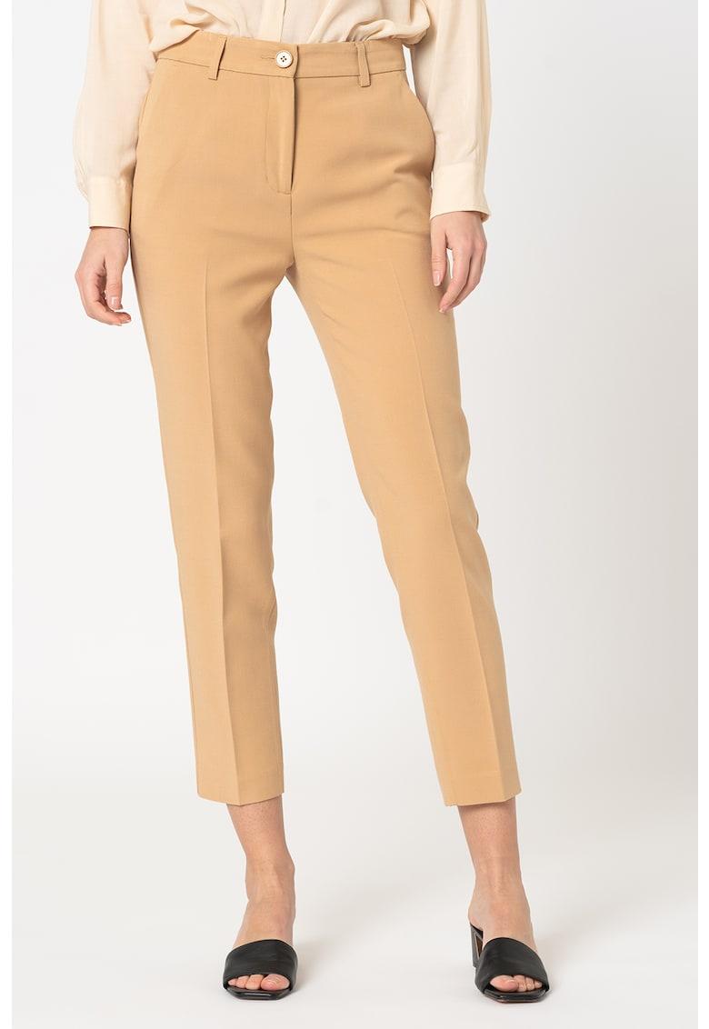 Pantaloni crop cu pensa poza fashiondays