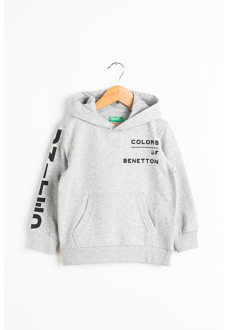 Hanorac cu maneci lungi si imprimeu frontal imagine fashiondays.ro United Colors of Benetton