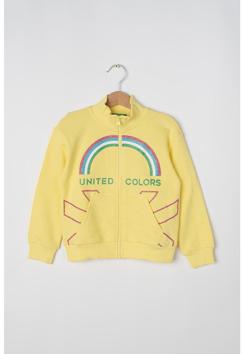Bluza sport cu fermoar si imprimeu logo fashiondays.ro
