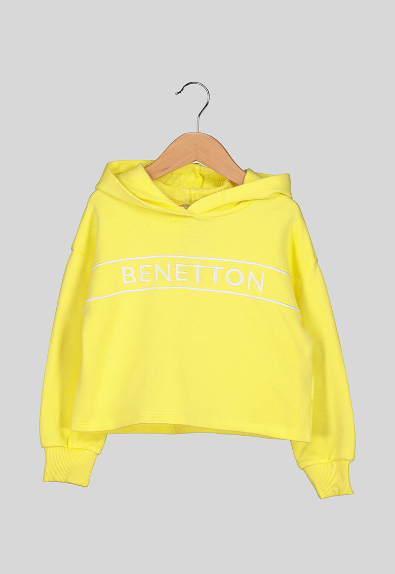 Hanorac din bumbac cu broderie logo imagine fashiondays.ro United Colors of Benetton