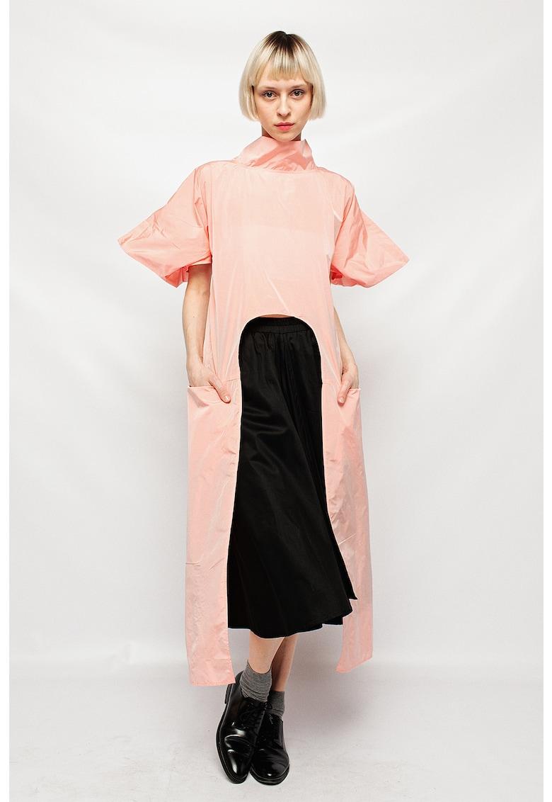 Bluza cu croiala asimetrica si maneci bufante fashiondays.ro