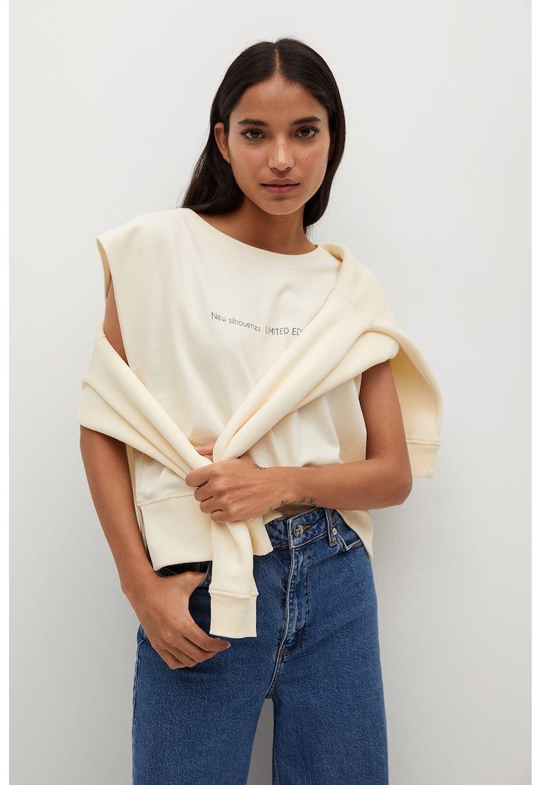 Tricou de bumbac organic cu imprimeu text Pstsha