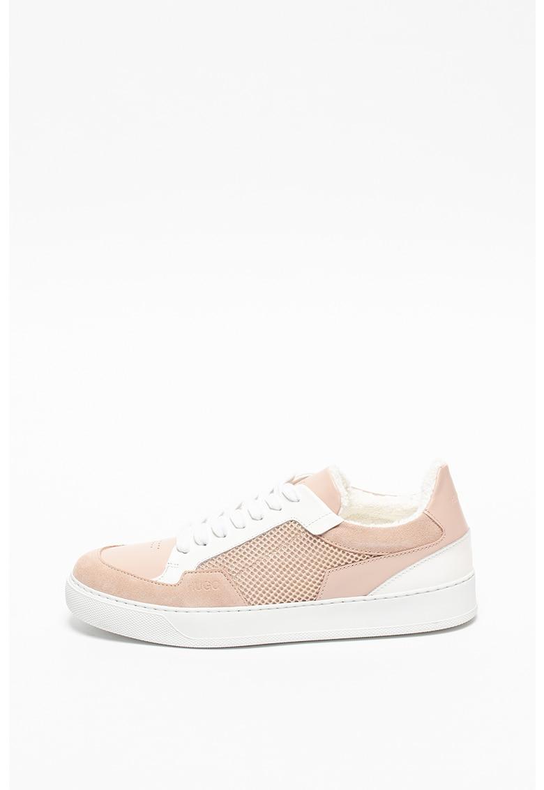 Pantofi sport de piele si piele intoarsa cu insertie de plasa Vera