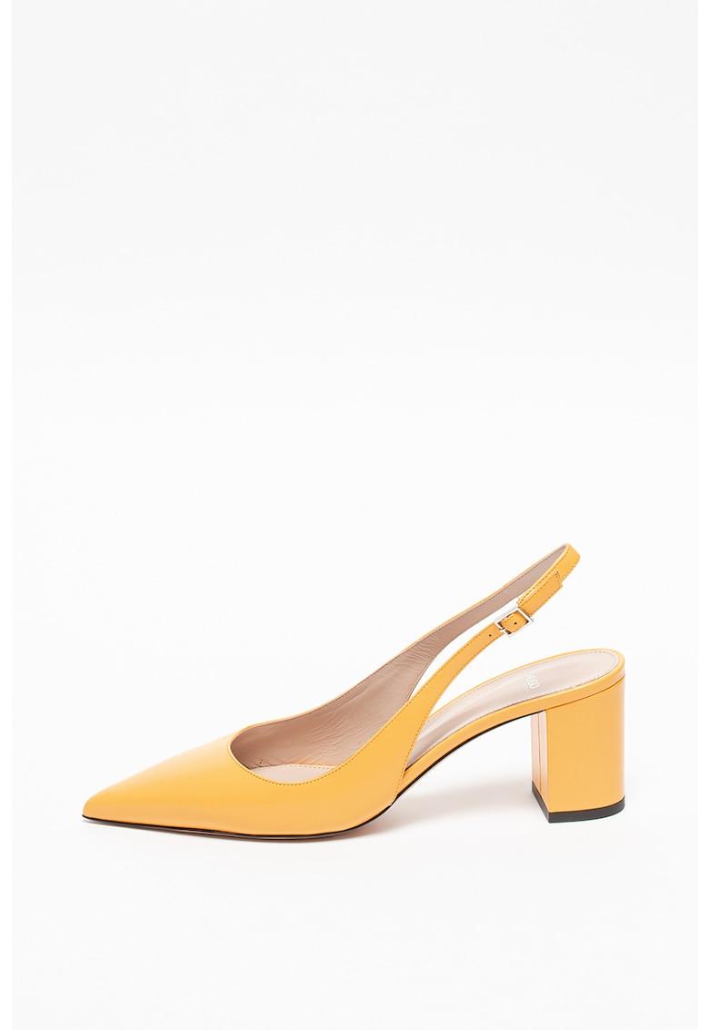 Pantofi sport slingback de piele cu toc masiv Ines