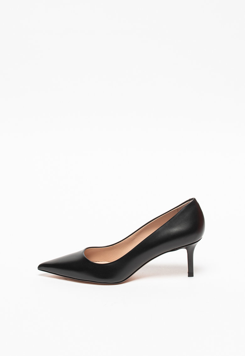 Pantofi din piele cu toc stiletto si varf ascutit Ines