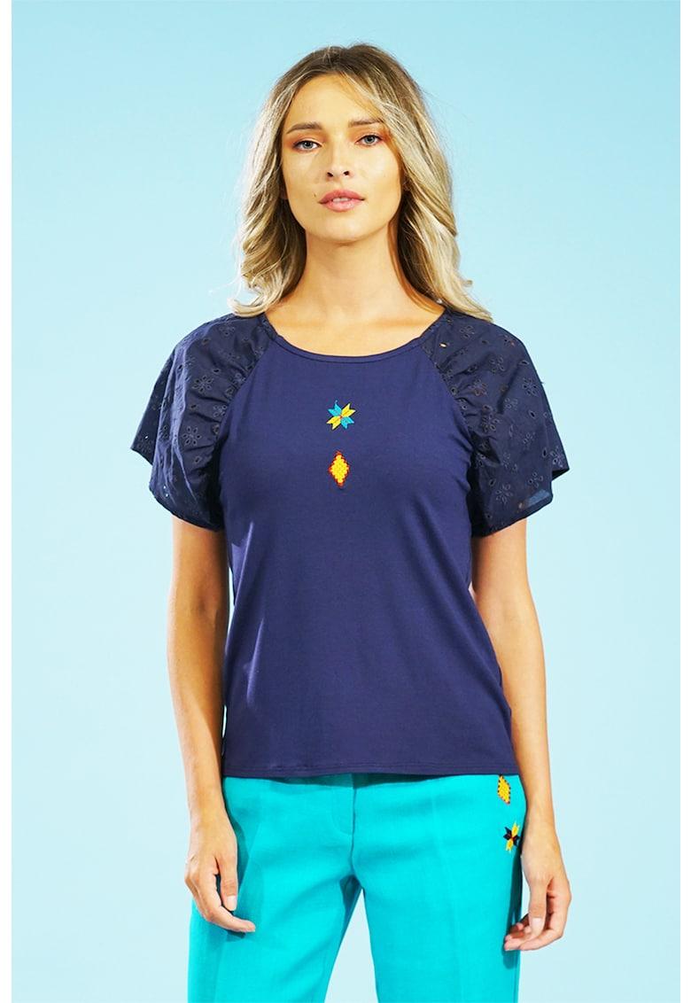 Bluza cu maneci raglan din dantela Sangallo Format Lady fashiondays.ro