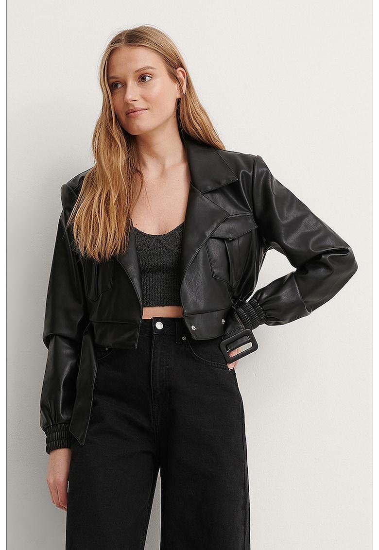 Jacheta de piele ecologica cu design crop imagine fashiondays.ro 2021