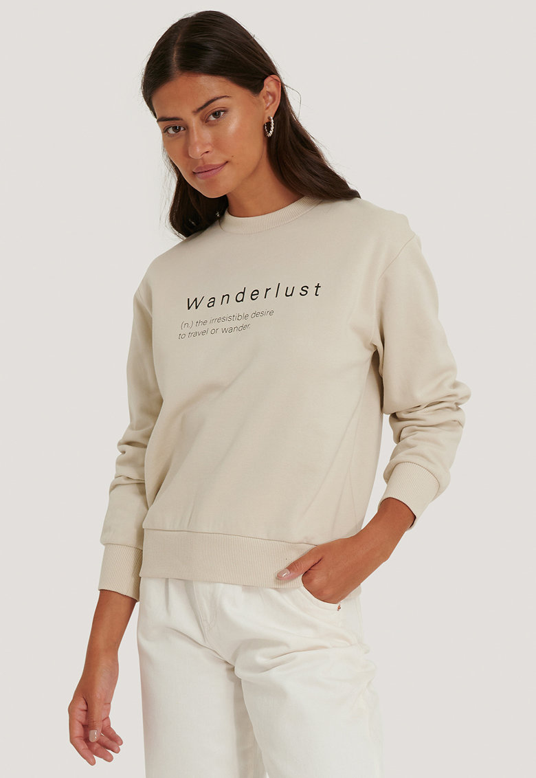 Bluza sport cu decolteu la baza gatului si imprimeu text imagine fashiondays.ro 2021