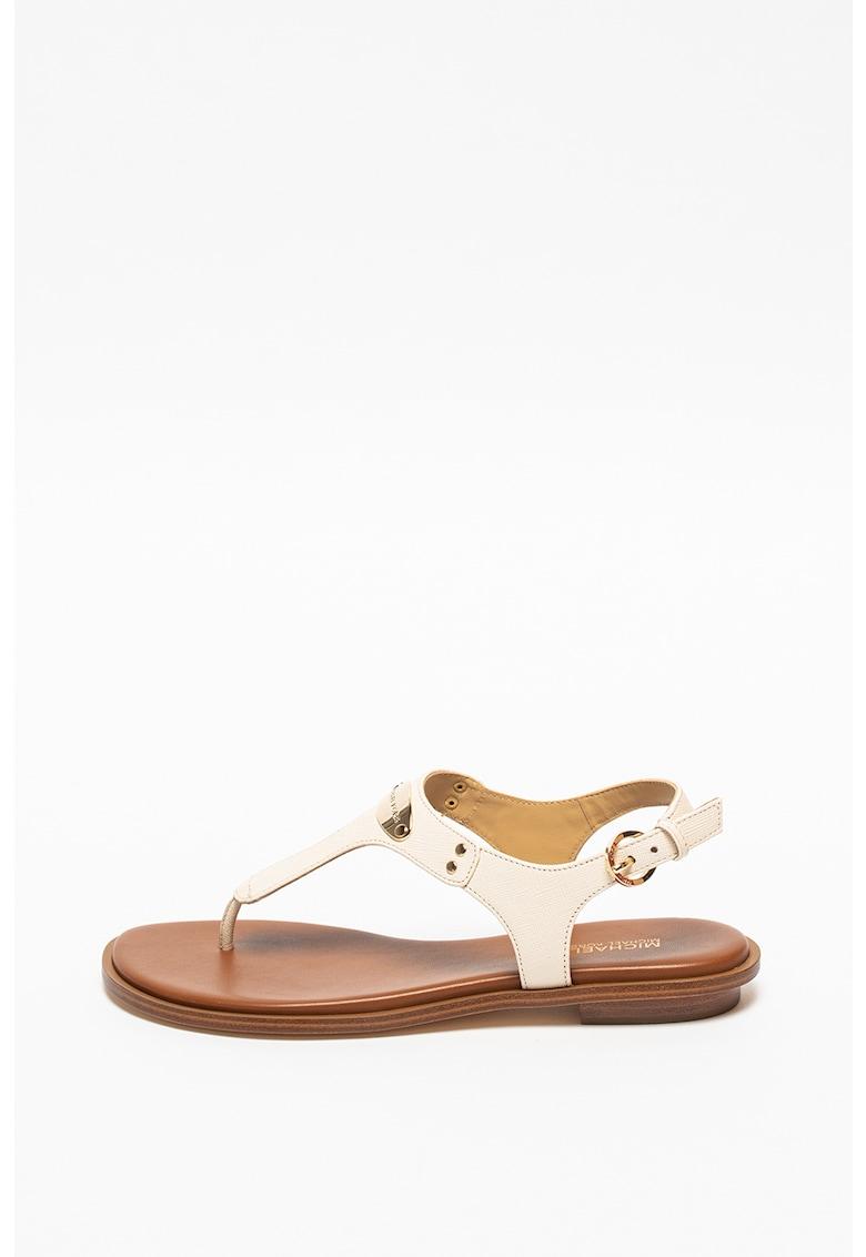Sandale din piele saffiano cu bareta separatoare si placuta cu logo Michael Kors fashiondays.ro